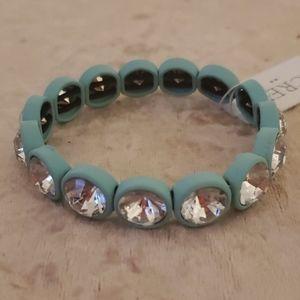 NWT J.Crew blue rubber rhinestone bracelet Rare